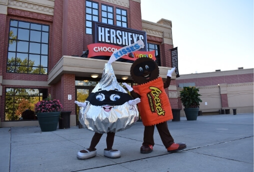characters in costumes at chocolateworld