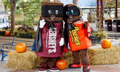Hershey and Reese dressed in costume