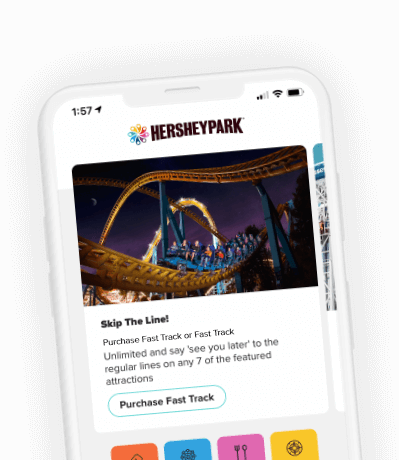 Mobile device displaying the Hersheypark app