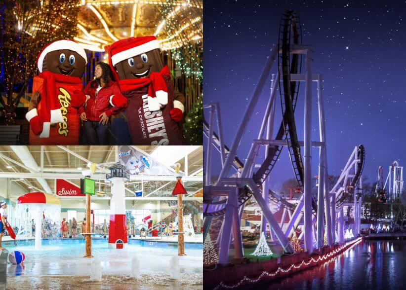 3 seperate photos, girl with Hershey Bar and Reese characters, indoor pool area of Hershey Lodge, roller coaster at night during Christmas Candylane