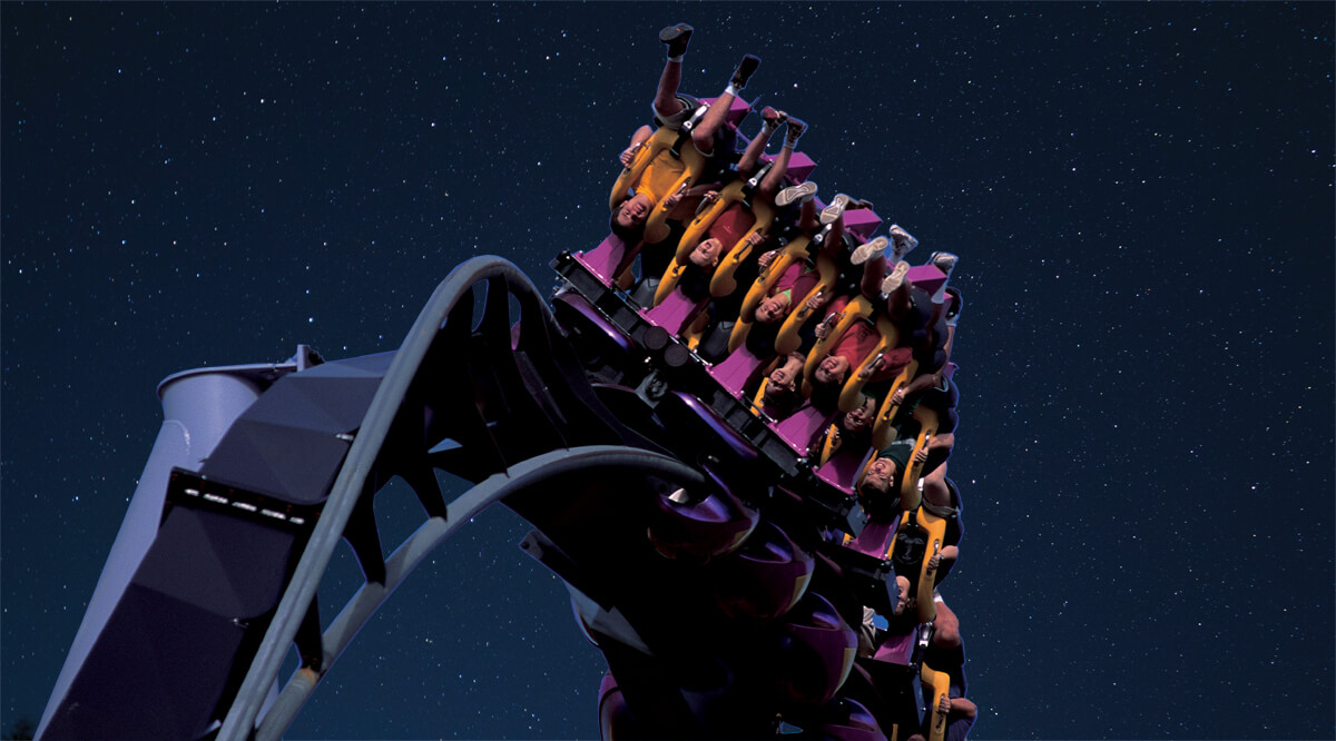 people riding great bear in the dark with a starry night sky in the background