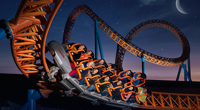 Fahrenheit Rollercoaster at night