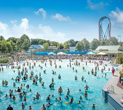 The shore wave pool with coaster in background