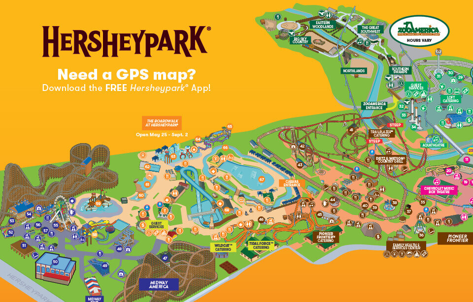 map of Hersheypark Summer 2019
