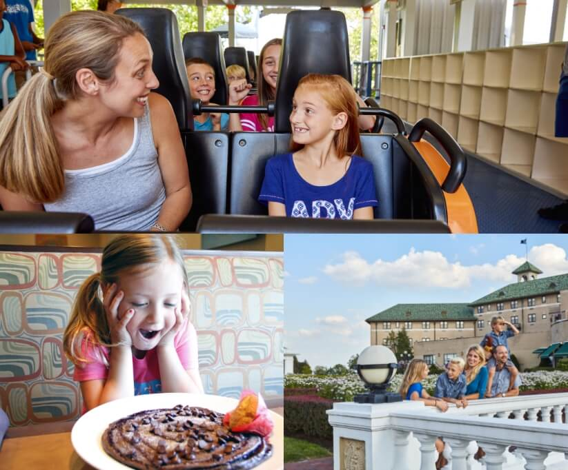 3 seperate photos, family entering a resort , people standing in from of carrousel, girl looking exciting in front of large chocolate chip pancake